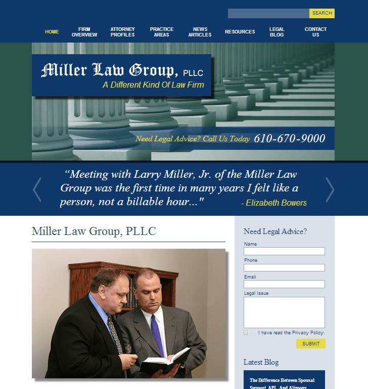 The Miller Law Group, PLLC website redesign.