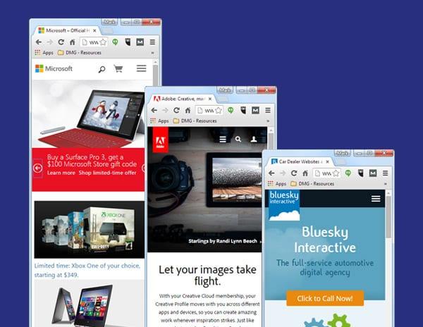 Websites utilizing responsive design techniques.