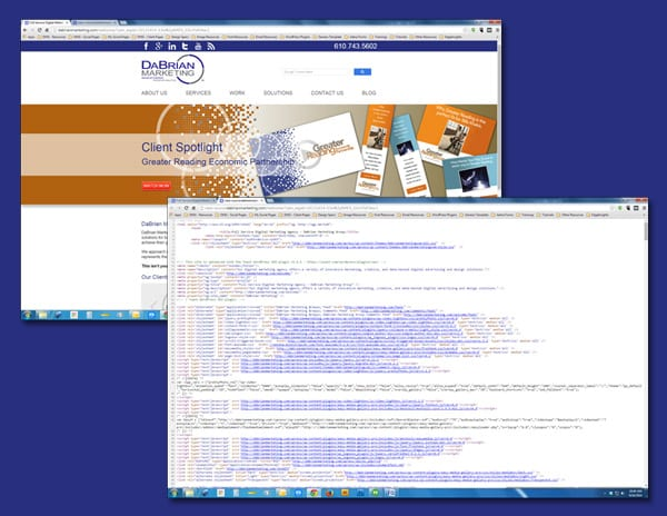 Design and source code view of a webpage.