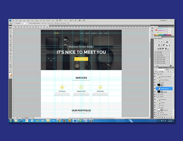 Web page layout in Adobe Photoshop.