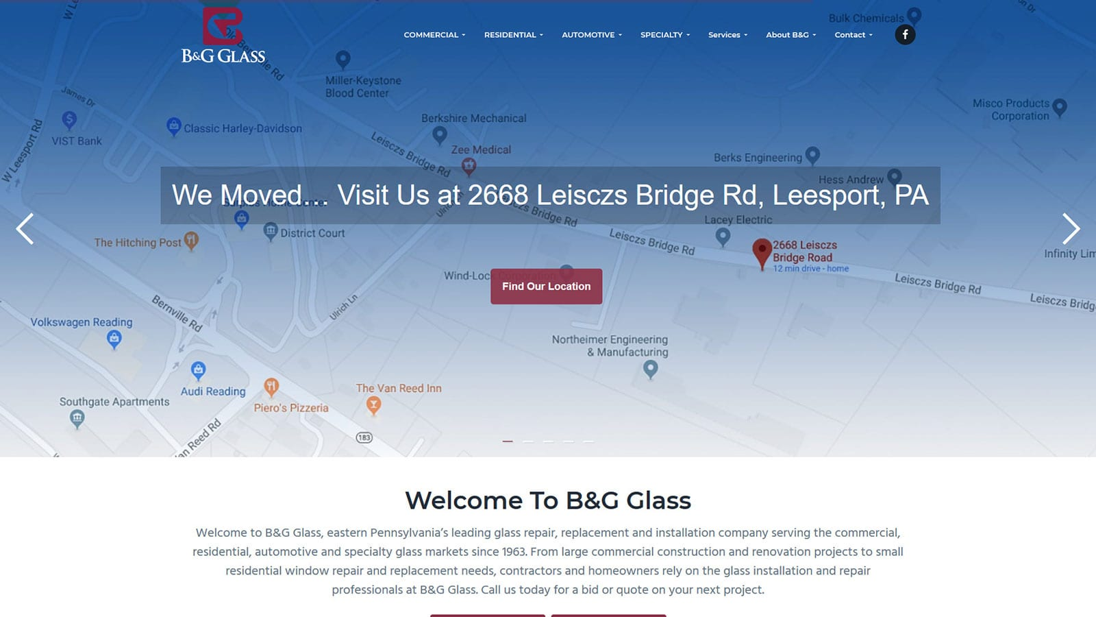 New Website Design for Former Reading PA Business – B&G Glass